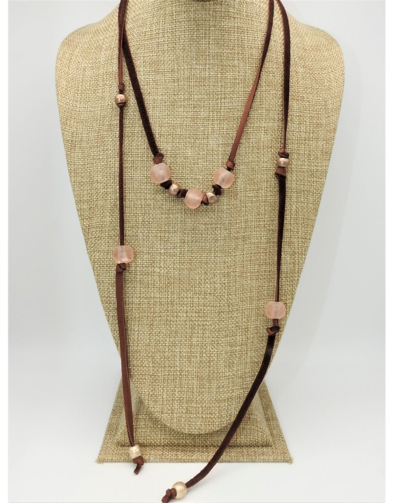 Aymala Studio 202-2 Drskin Lariats-Brn, glass/african beads