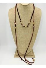 Aymala Studio Deerskin Lariats-Brn, glass/african beads