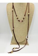 Aymala Studio 202-3 Drskin Lariats-Brn, glass/african beads