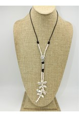 Pewter Couture NN3136 HM Pewter/Leather Neck. w/Crystal