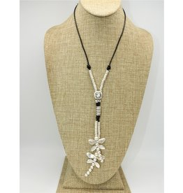 Pewter Couture NN3136 HM Pewter Dragonfly, Leather w/Crystal