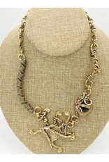 Pewter Couture Wire brass necklace-2