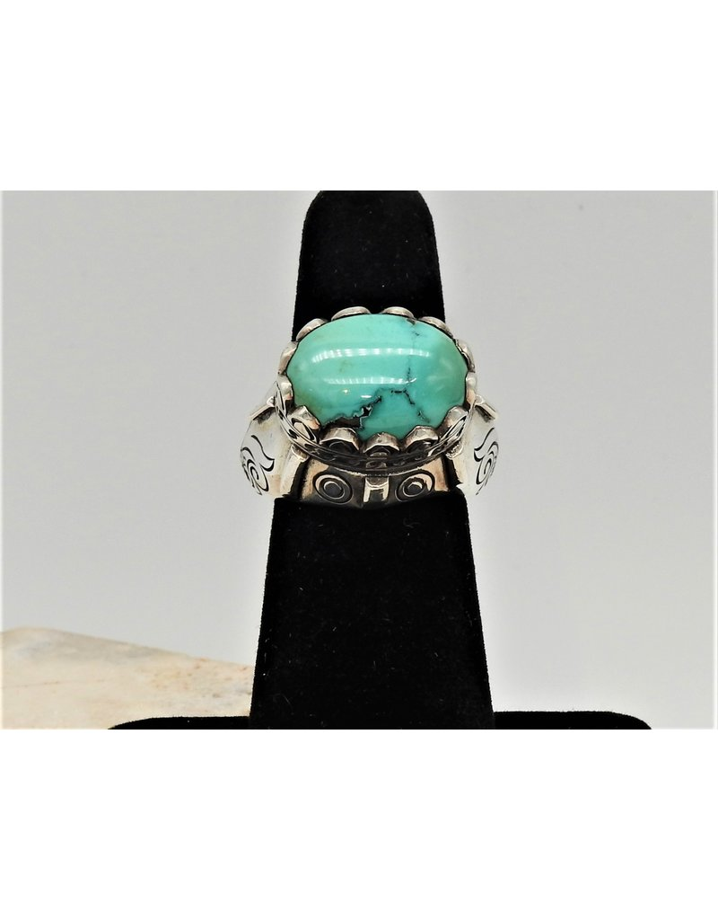 Shreve Saville SRS-R37C SS, Oval Turquoise Ring size 6.5