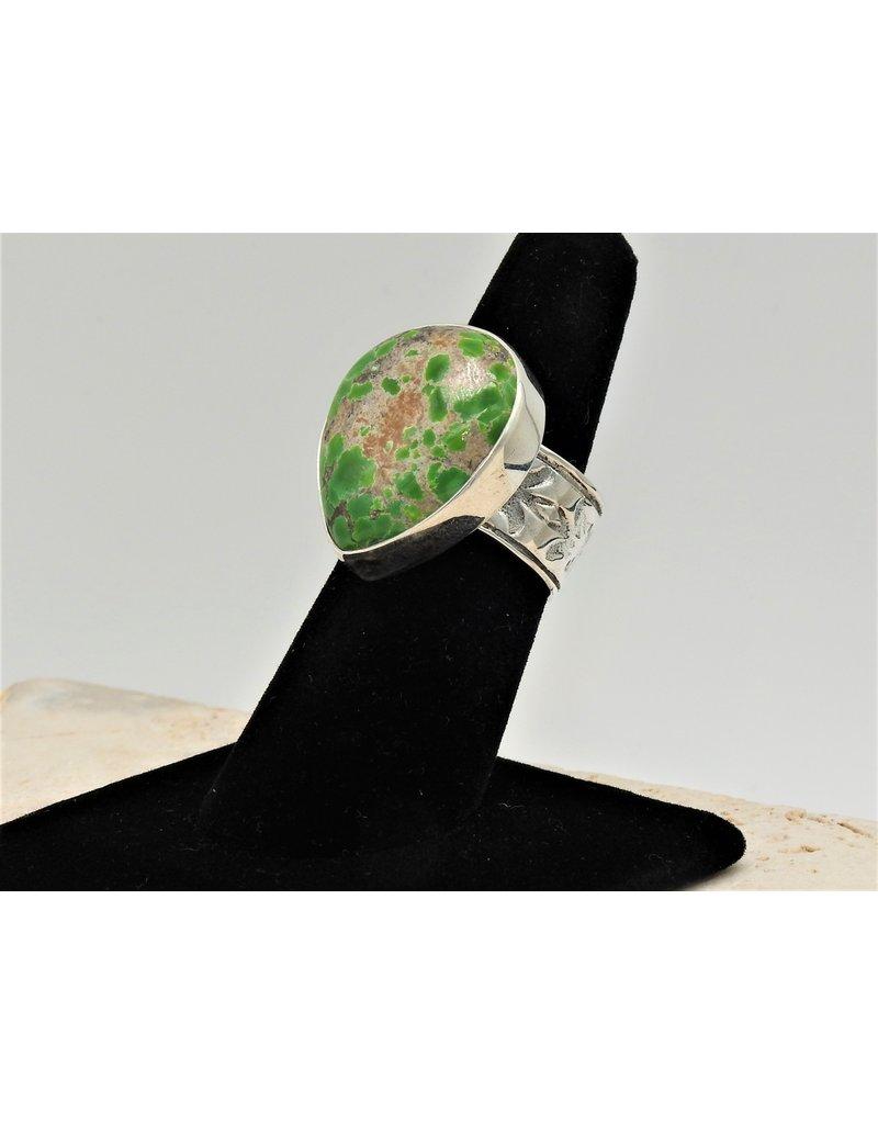 Shreve Saville SRS-R118C SS, Grasshopper Turquoise Ring
