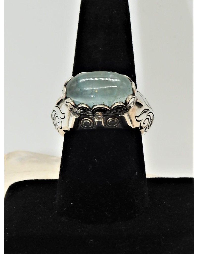 Shreve Saville SRS-R42C Aquamarine oval Ring size 9