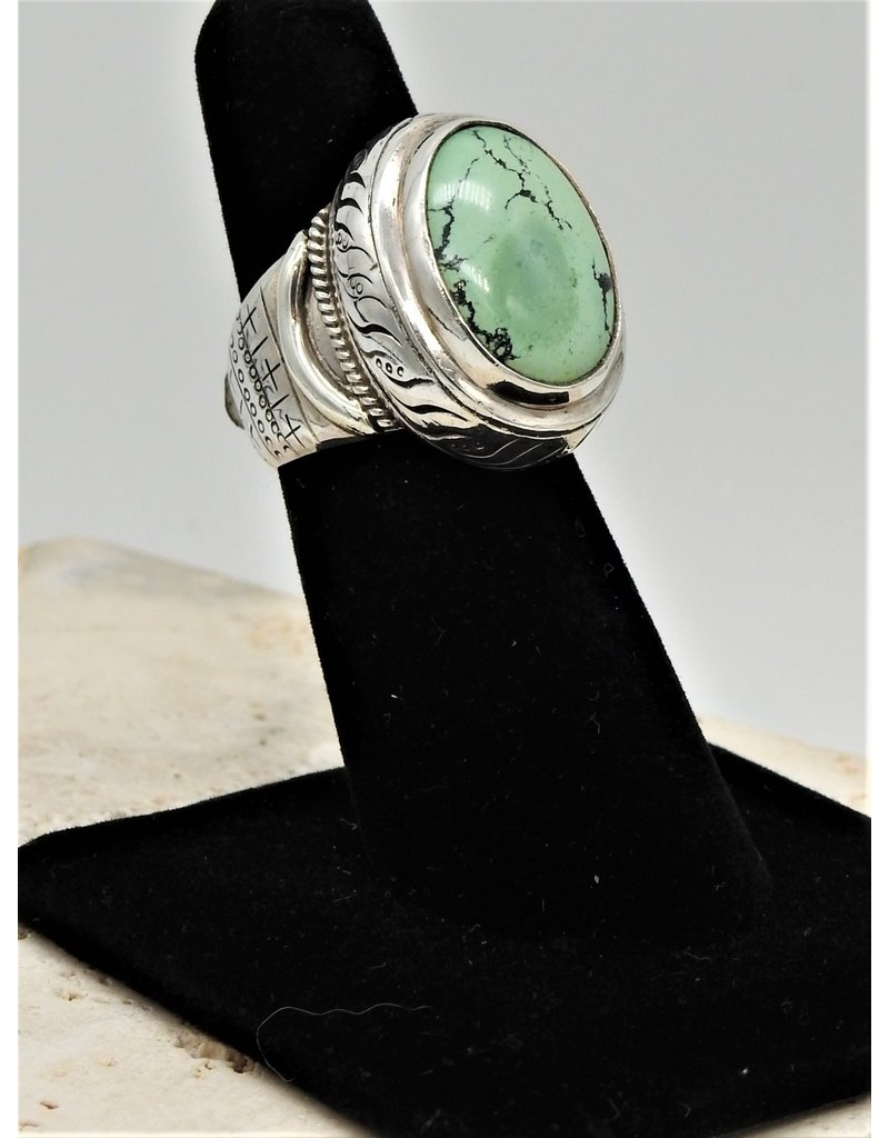 Shreve Saville SRS-R44C Pale Green Turquoise Ring size 6.5
