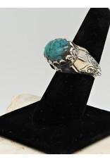 Shreve Saville SRS-R31C Oval Turquoise Ring size 8