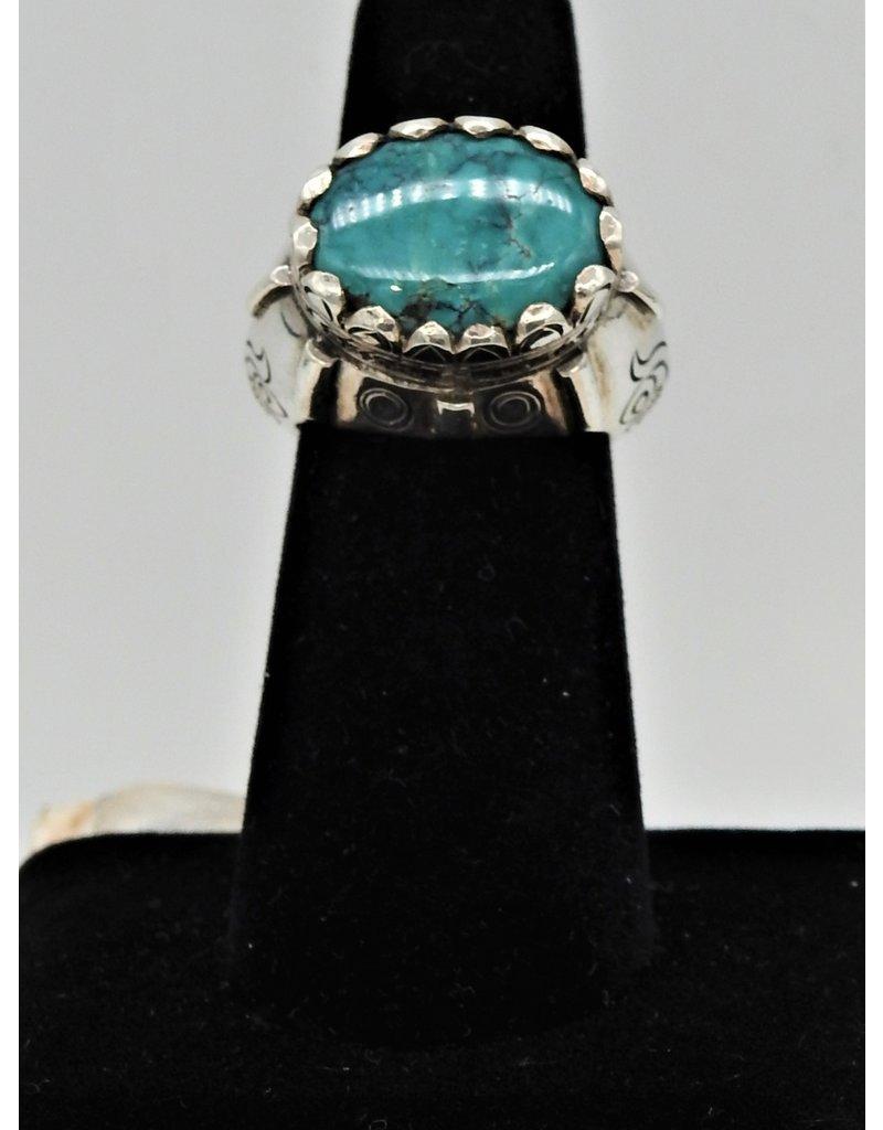 Shreve Saville SRS-R48C Blue Turquoise Oval Ring size 6.75
