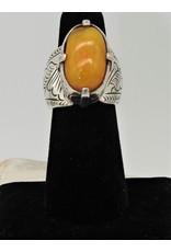 Shreve Saville SRS-R56C Ntrl. Baltic Amber Oval Ring size 6