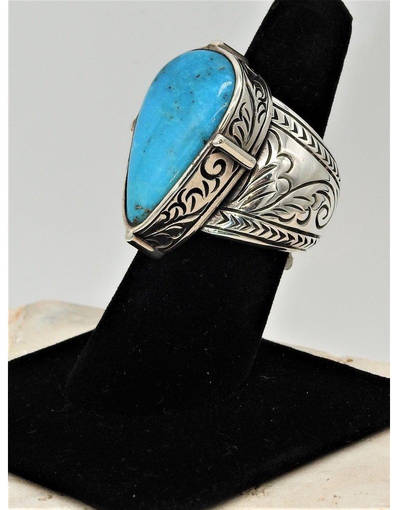 Shreve Saville SRS-R14C Lg Nakozari Turquoise Teardrop Ring sz 8