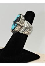 Shreve Saville SRS-R1C Oval Turquoise/Blk Chert Ring size 7