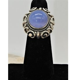 Shreve Saville SRS-R24C Natural Blue Chalcedony Ring size 5.5