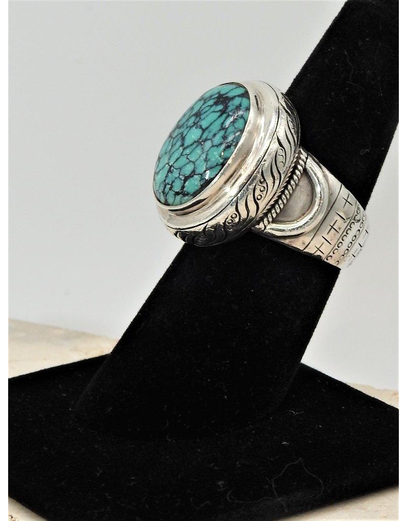 Shreve Saville SRS-R17C Blue Spiderweb Turquoise Ring size 8