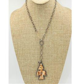"Gildas Gewels 16"" Bone Thunderbird & Diamond Necklace"