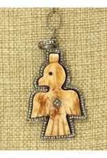 "Gildas Gewels 16"" Bone Thunderbird & Diampmd Necklace"