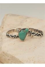 Shreve Saville Blue Grasshopper Turquoise Stacker Ring sz 4.25