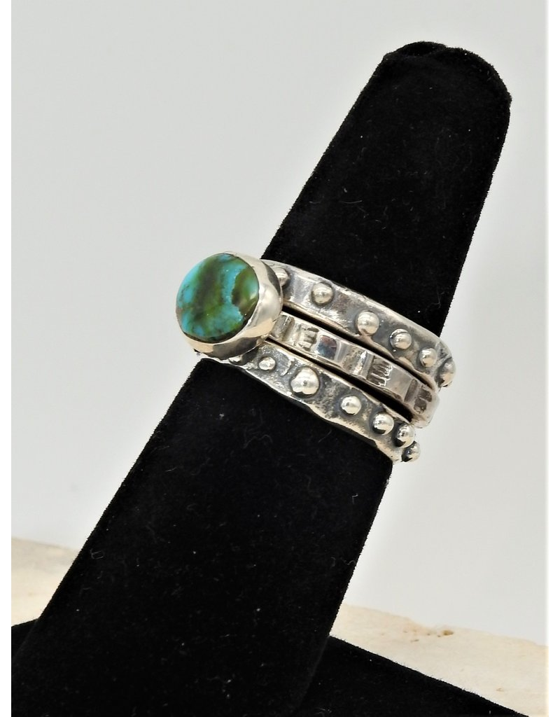 Shreve Saville Thunder Mountain Turquoise Stacker Ring sz 6.5