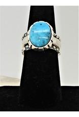Shreve Saville Thunder Mountain Turquoise Stacker Ring sz 7.5
