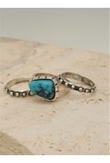 Shreve Saville Thunder Mountain Turquoise Stacker Ring sz 6.5
