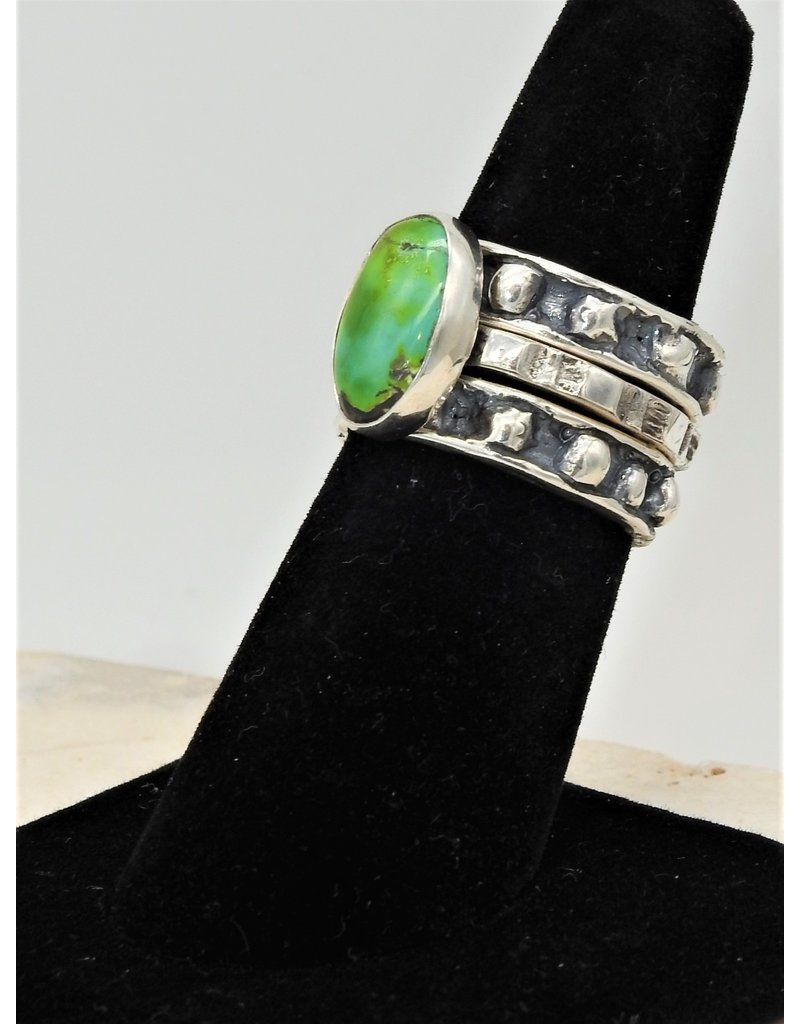 Shreve Saville Grasshopper Turquoise Stacker Ring sz 7