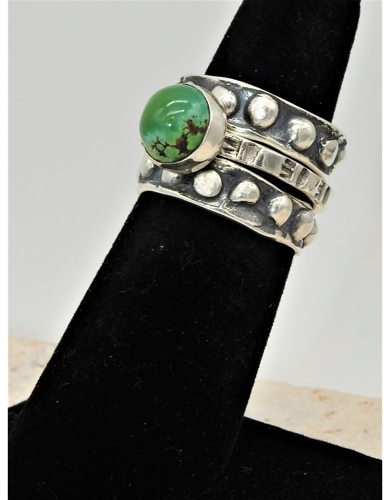 Shreve Saville Grasshopper Turquoise Stacker Ring sz 6.5