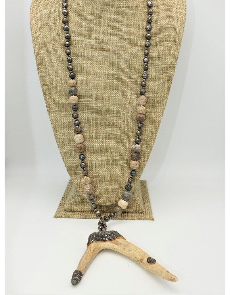 """Gildas Gewels 34"""" Dbl. Horn & Diamonds Necklace"""