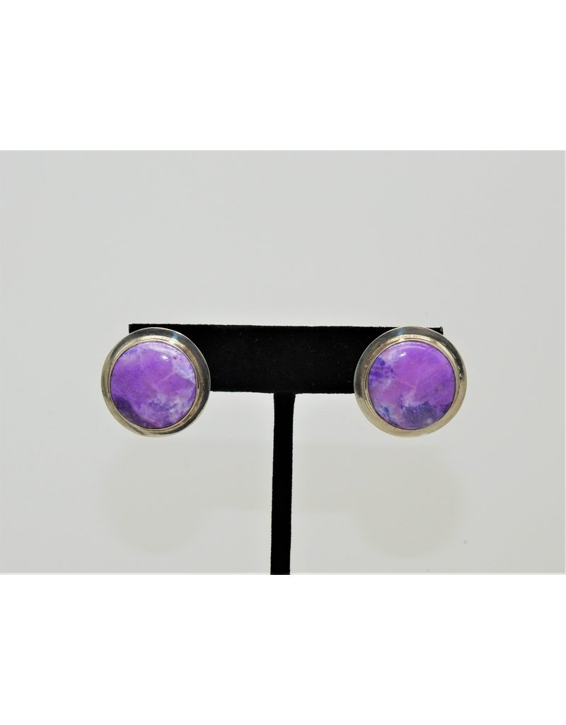 Pam Springall Sugilite Rounds, SS Post Earrings