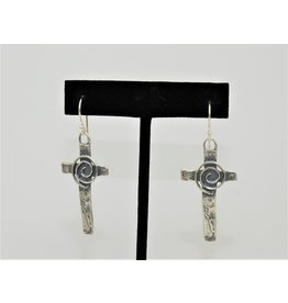 Pam Springall PS-E258C SS Cross w/Spiral Earrings