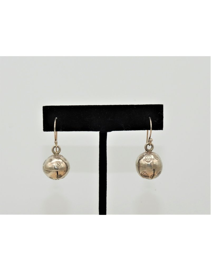 Pam Springall Fine Silver Bells on wire earrings