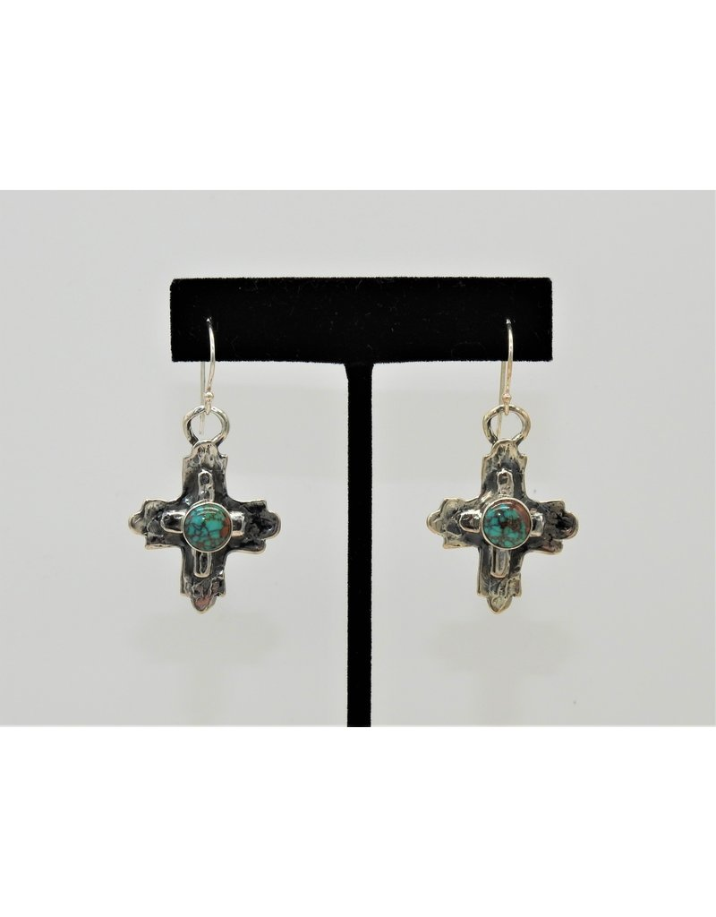 Pam Springall Sterling Silver Crosses w/Spiderweb Turquoise Earrings