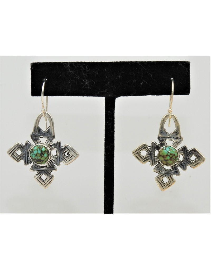 Pam Springall Sterling Silver Coptic Crosses w/Spiderweb Turquoise