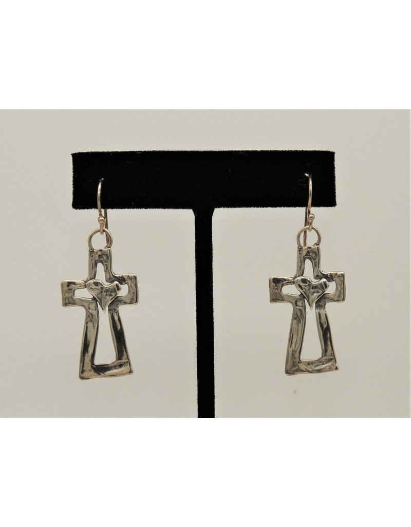 Pam Springall PS-E68C Sterling Silver Crosses w/Heart