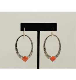 Pam Springall PS-E224C SS Ovals, Orng Spiny Oyster on wire