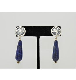 Pam Springall Long Lapis drops on silver post earrings