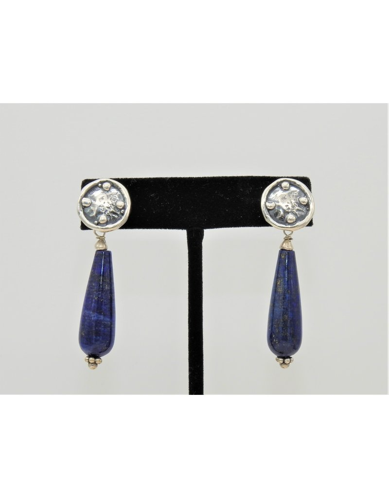 Pam Springall PS-E230C Long Lapis drops on silver post earrings