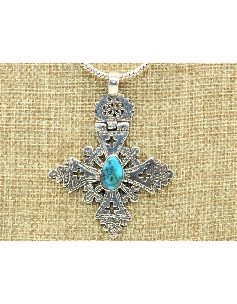 Pam Springall SS Hngd. Coptic Cross/Kingman Turquoise Pendant