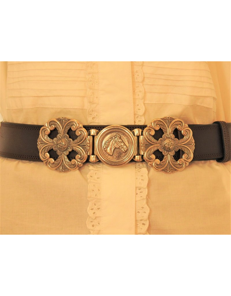 Mariano Draghi SS Horse Buckle, Brown Leather Belt