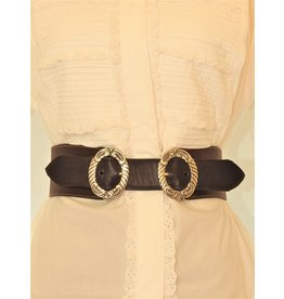 Mariano Draghi MD-C 2 Ring Buckle-A, Stitched Brown Leather Belt