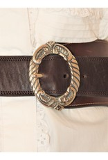 Mariano Draghi SS 2 Ring Buckle-A, Stitched Brown Leather Belt