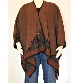Peruvian Perfection Alpaca Cape, Reversible - Copper, Black