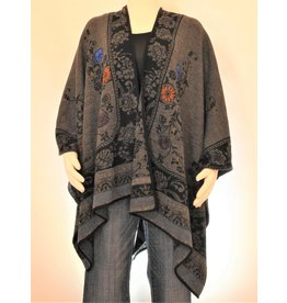 Peruvian Perfection Alpaca Cape, Reversible - Grey, Blk & Blue
