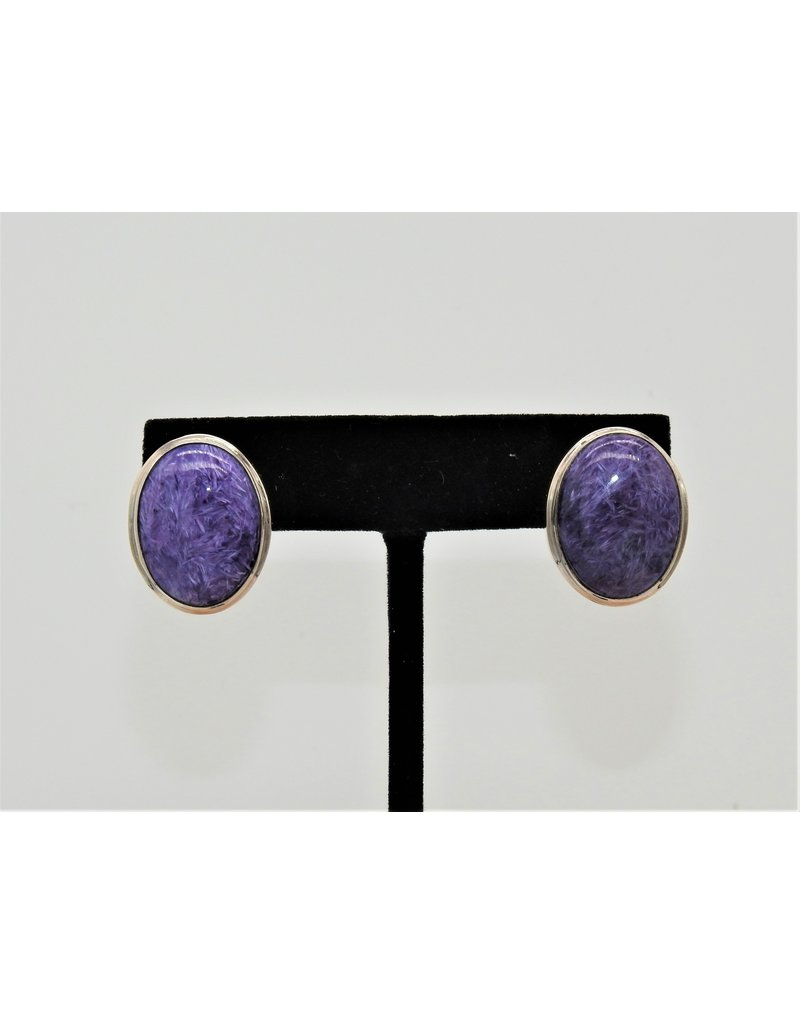 Shreve Saville SS Oval w/ Charoite post earrings