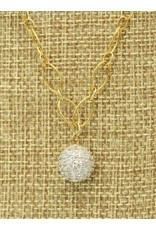 Bliss Rox BR-N71C Crystal Ball ss-gf chain, 2 pearl charm