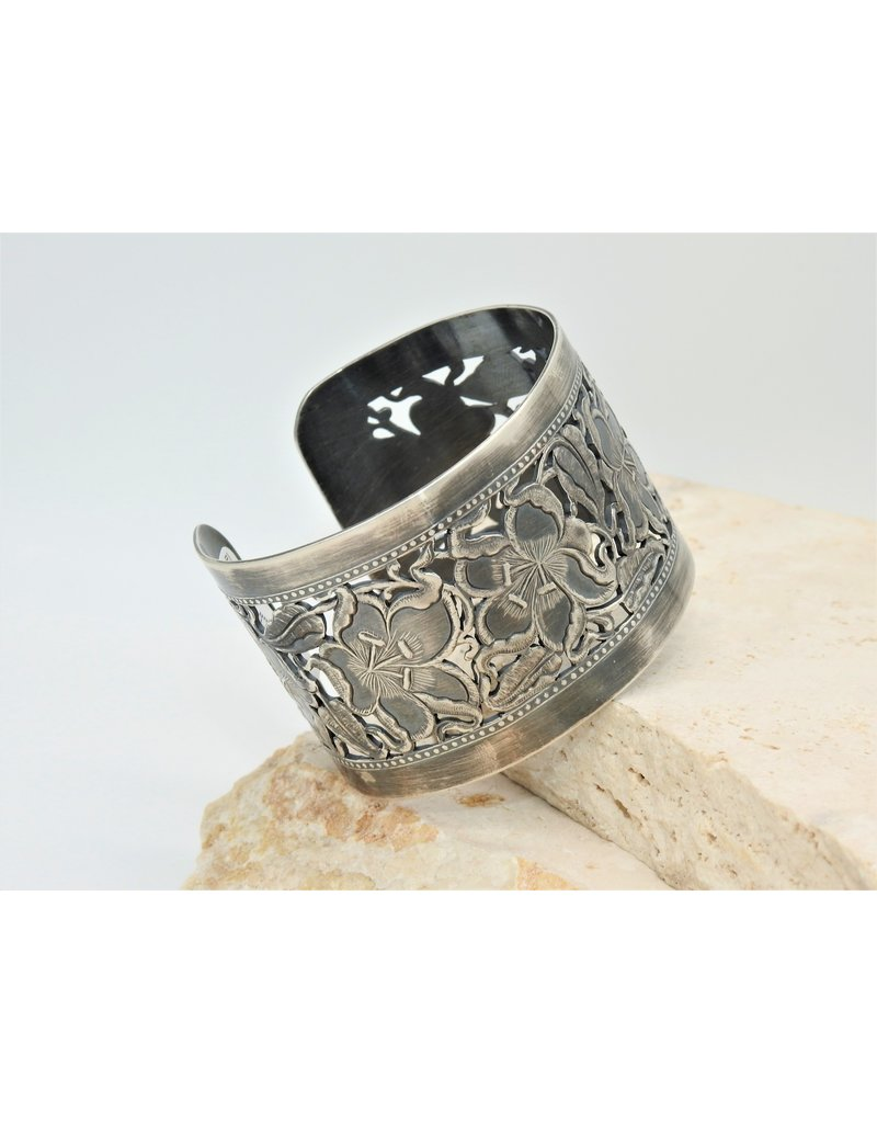 Bliss Rox BR-BC Oxidized Silver, Lily (open cut) Cuff
