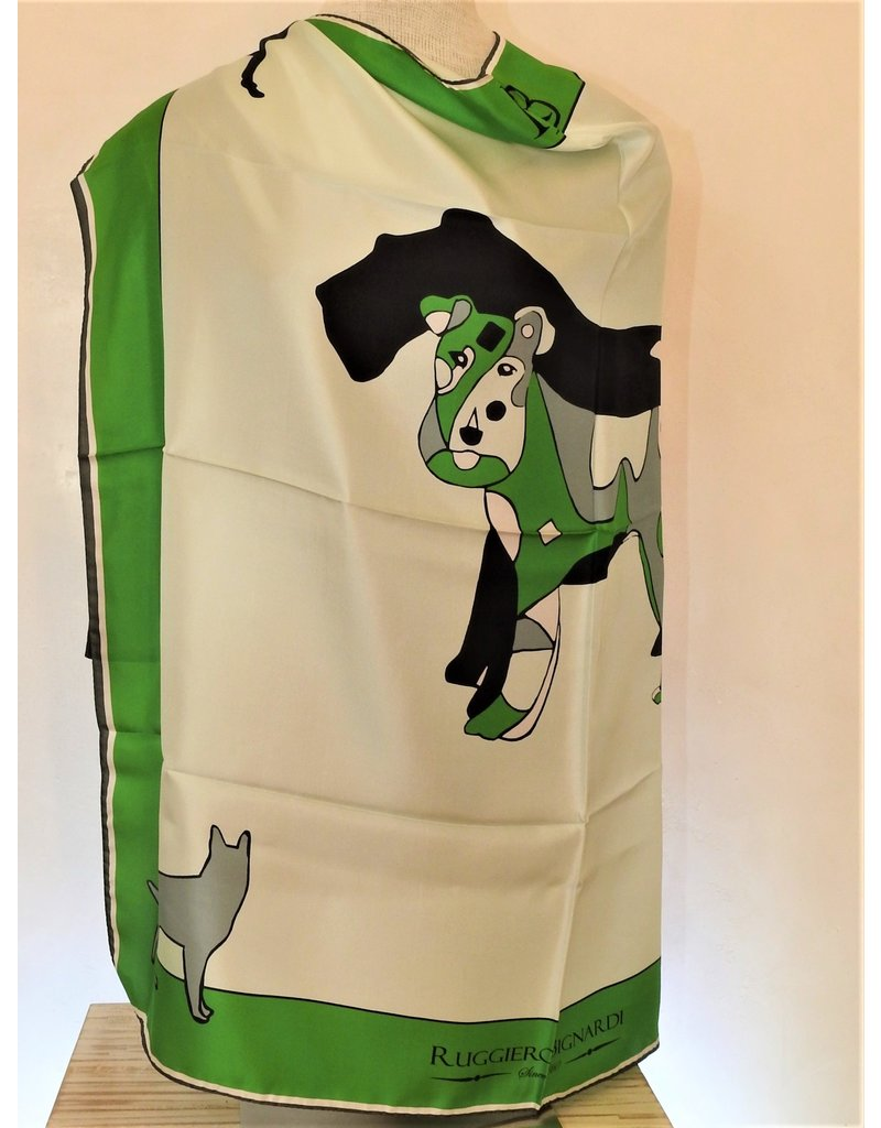 Ruggiero Bignardi AF2 Silk Scarf Dog Green