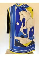 Ruggiero Bignardi NN1 Silk Scarf Horse Blue