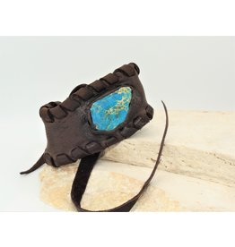A. Tsagas AT Chocolate Deerskin w/Blue Stone Cuff