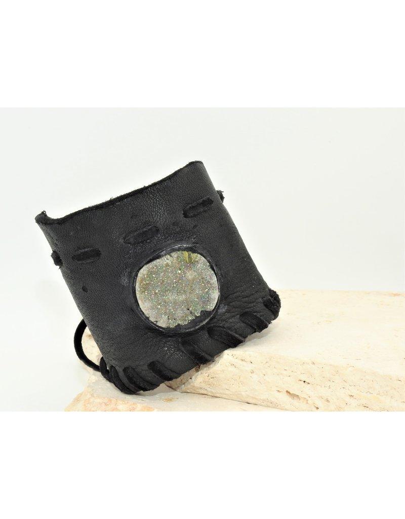 A. Tsagas  Black Deerskin w/Druzy stone cuff
