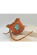 A. Tsagas Tan Deerskin w/Turquoise color stone cuff
