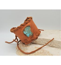 A. Tsagas Tan Deerskin w/Turquoise color stone cuff